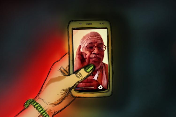 Tamil brahmin priest image in cellphone