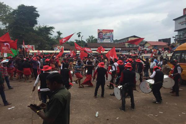 Bombs hurled at a LDF victory rallies one dead 8 injured