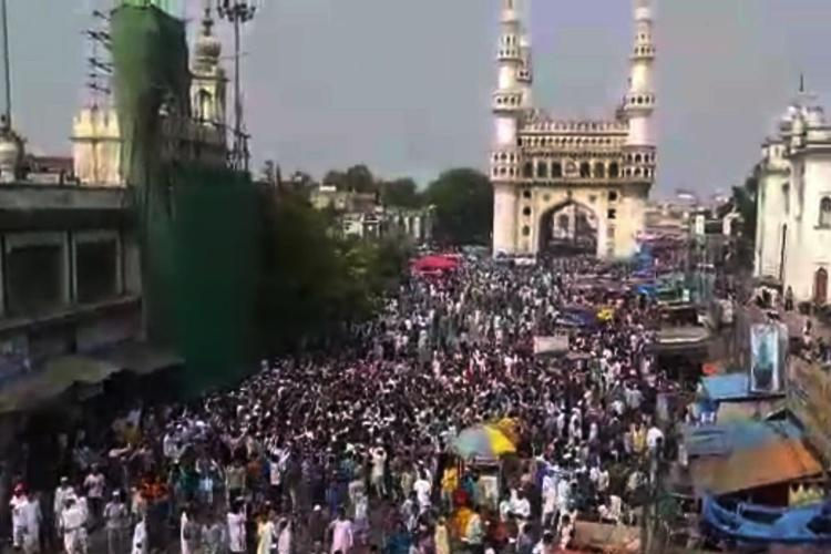 Around 1000 protest against CAA after Friday prayers near Hyderabads Charminar