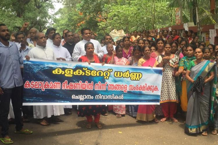 Seawall construction stalled in Kerala coastal village residents march to Collectorate
