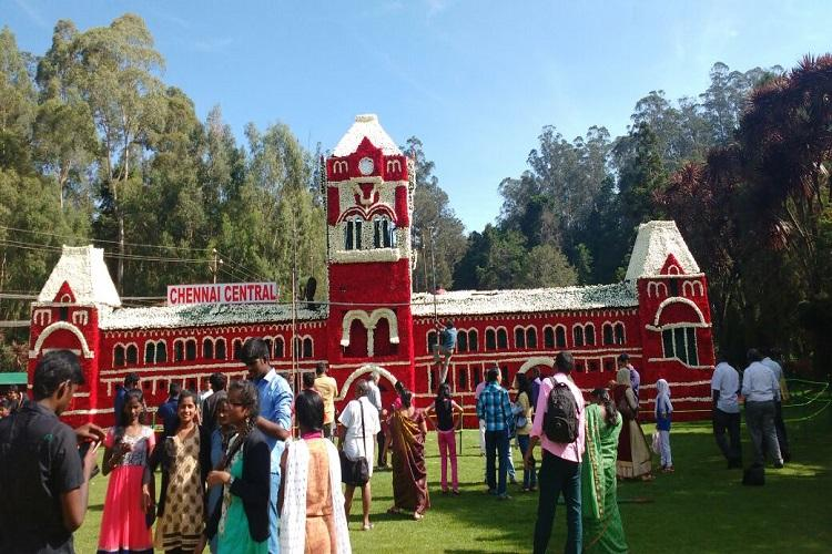 Floral replica of Chennai Central station on display at flower show in Ooty