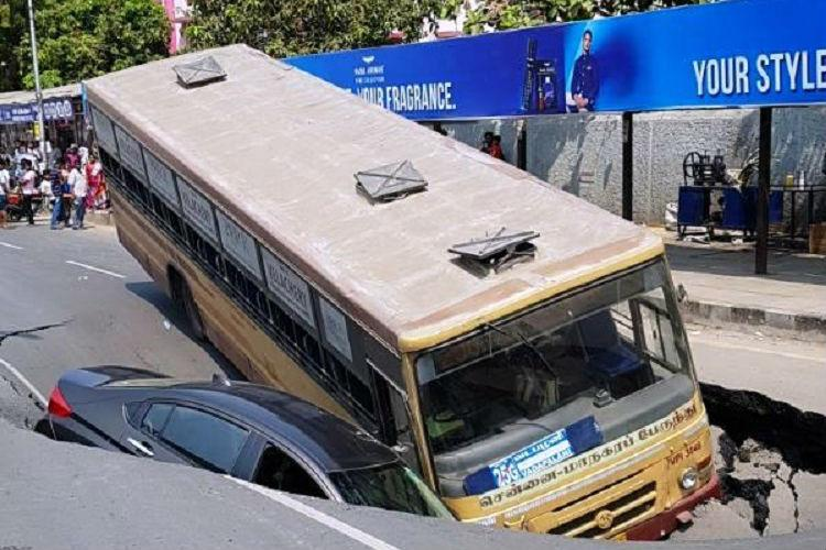 Chennais road cave-in Poor soil quality metro construction or administrations fault