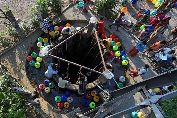 Serving and retired police officials protest for water in Chennai