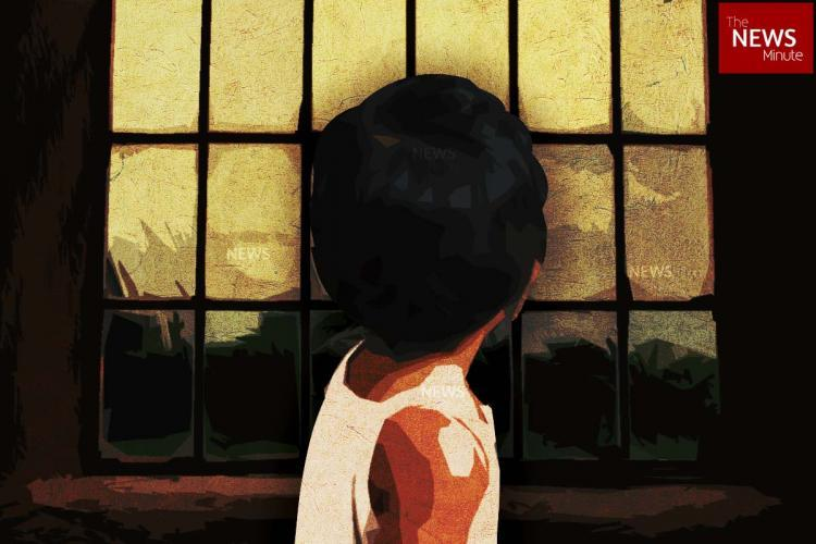 Stylised image of a child in front of a window
