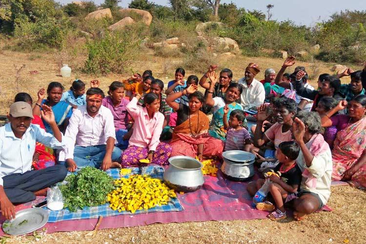 Denied ration for not linking Aadhaar Chikballapur Dalit families eat raw veggies in protest