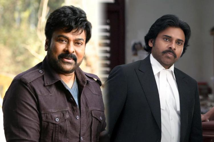 Chiranjeevi s image on the left and Pawan Kalyans still from Vakeel Saab on the right
