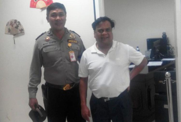 Image of Chhota Rajan with Bali police Whats he so happy about