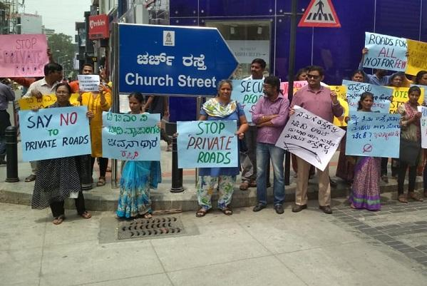 Why security guards for Church Street Bengaluru activists protest privatisation