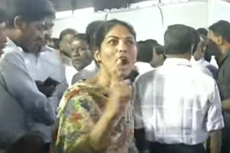 Angry woman interrupts TN ministers press meet says cops lathi-charged her at CMBT