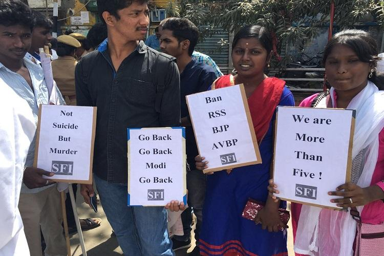 Rohith Vemula suicide 23 groups protest against Modis visit in Coimbatore
