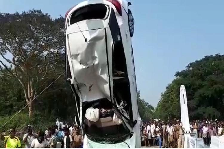 Three dead after car falls into canal in Coimbatore search on for one person