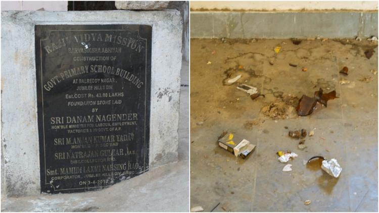 This Hyderabad school doesnt have students but booze bottles and cigarette stubs
