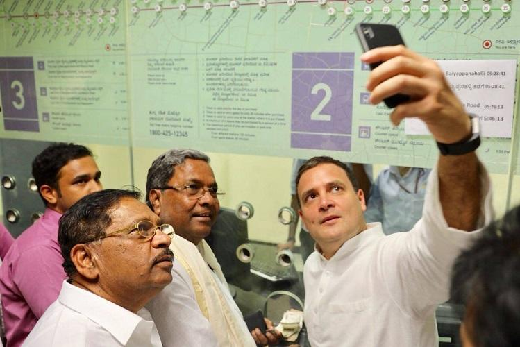 Rahul Gandhi rides in metro browses for books in Bengaluru