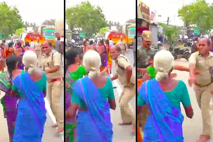 Cop acts like goon slaps woman protester during anti-TASMAC march in Tamil Nadu