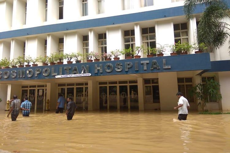 One floor of Tvm Cosmopolitan Hospital inundated several vehicles under water