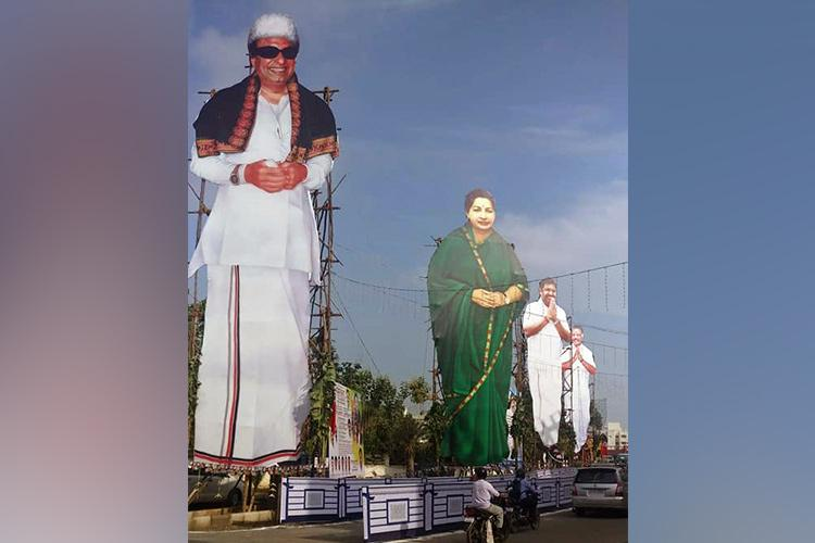 Repeat offender AIADMK puts up massive cut-outs yet again this time in Maduravoyal