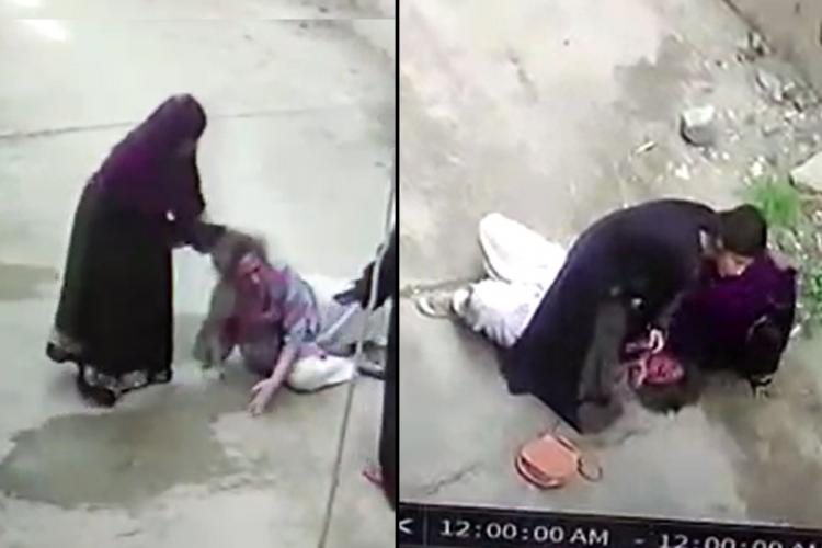 A collage of a woman being assaulted by her daughter-in-law and her mother both dressed in a burqa