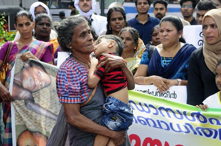 Endosulfan victims protest outside Kerala Secretariat urge govt to hear their pleas