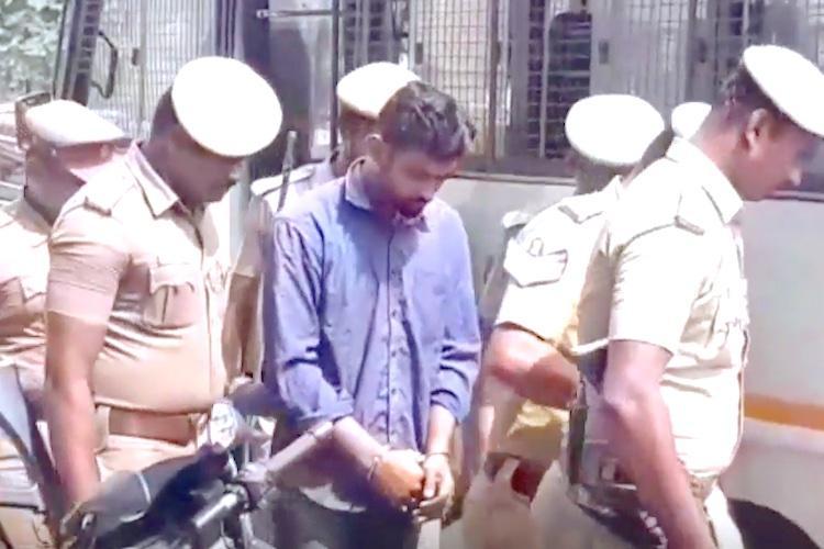 You murderous dog Women attack Hasinis alleged killer Dhasvanth outside TN court