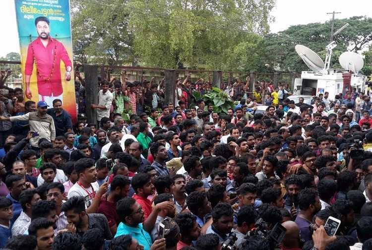 Dileep gets bail Fans celebrate outside jail others raise concerns about actors influence