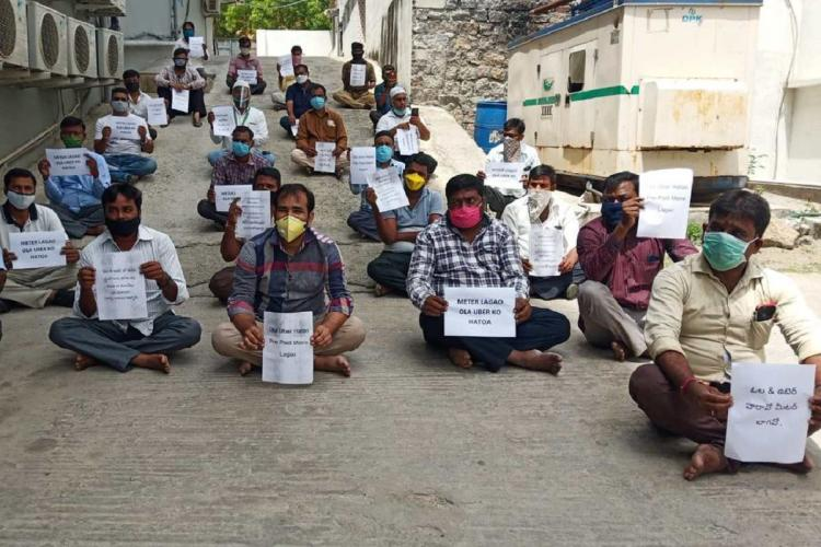 App-based drivers delivery executives protest for adequate safety gear better income