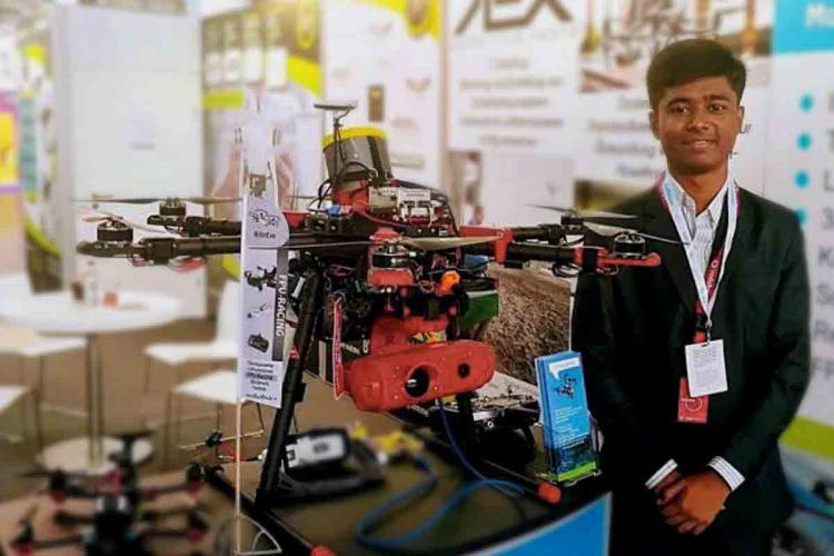 Prathap NM with a drone in Germany