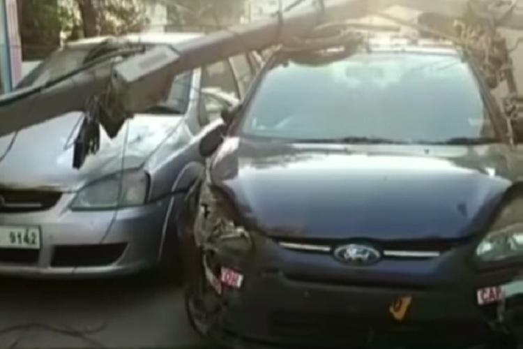 Hyderabad drunk driving Car runs amok uprooting two electric poles