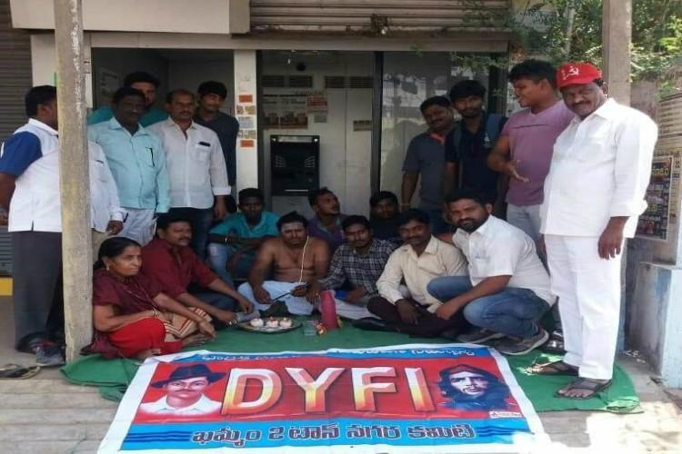 Demonetisation ruined many lives Protestors perform last rites of ATMs in Telangana