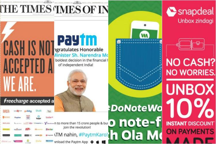 E-commerce companies are bombarding us with front page ads after demonetisation