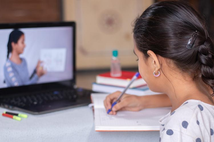 A student taking an online class amid the coronavirus pandemic in India