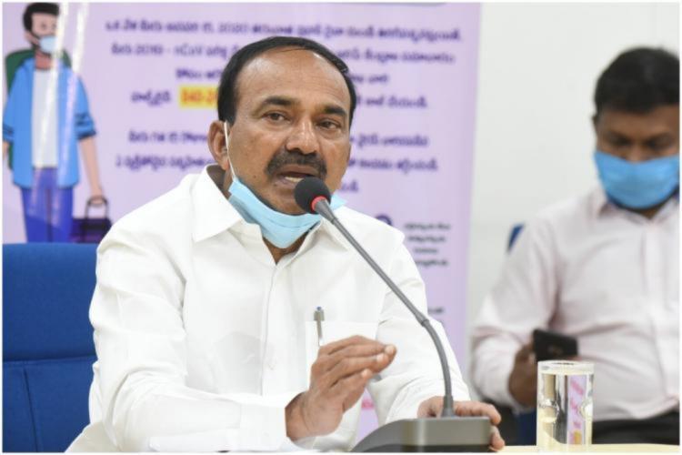 Telangana Health Minister Eatala Rajender addressing a press conference
