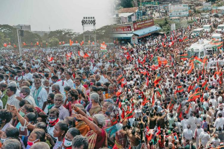 File photos of crowds at campaign rallies in Tamil Nadu and Kerala