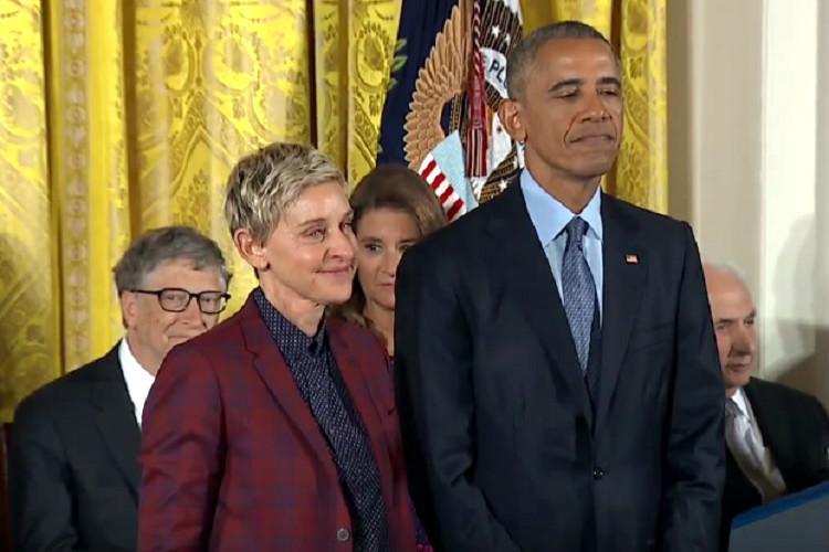 Obama awards Ellen DeGeneres highest American civilian honour in an emotional ceremony