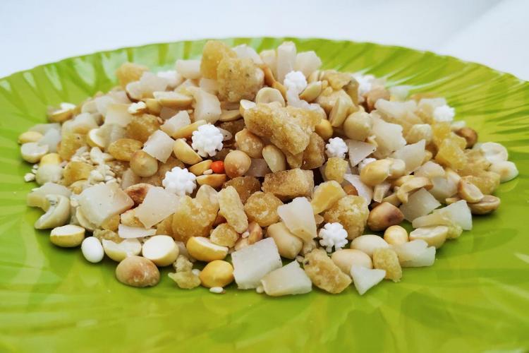 Ellu Bella - a mixture of jaggery sesame seeds dry fruits and coconut - served on Sankranti in Karnataka