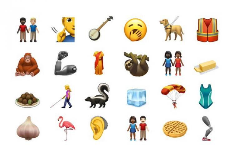 A set of 24 emojis on a white screen including faces animals vegetables