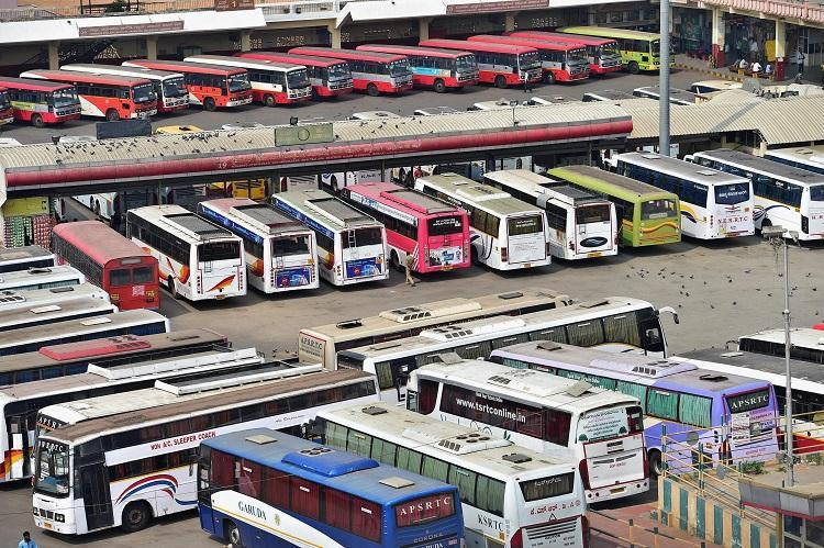 Buses parked in bus stand on strike day