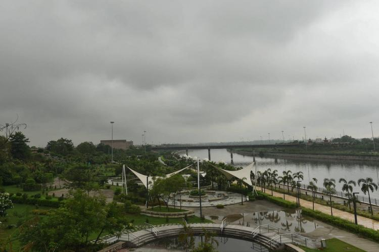 A aerial view of river Gomti as seen on World Environment Day in Lucknow Friday June 5 2020