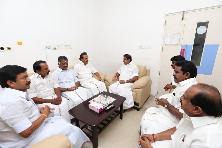 EPS OPS visit Karunanidhi at Kauvery Hospital say he is stable