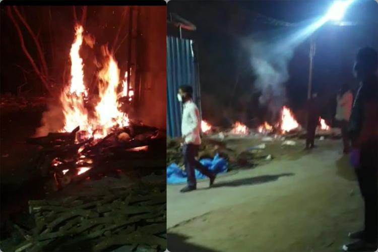 An alleged enmasse cremation of COVID19 dead bodies
