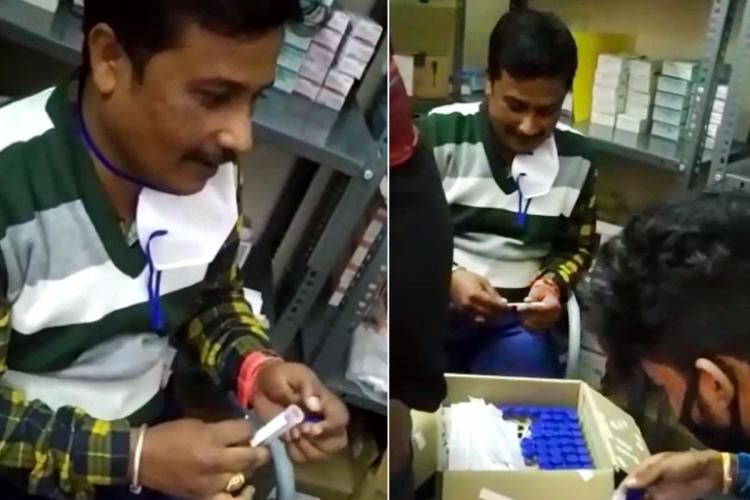 Screenshot from the video where Nagaraj and Hemanth are seen putting new swabs into the vials