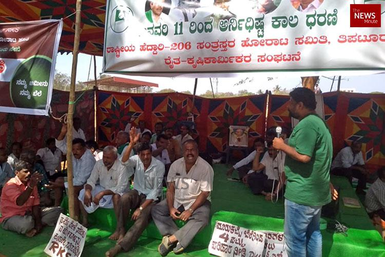 Give us right compensation Ktaka farmers on strike against NH 206 widening