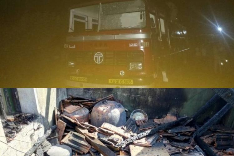 Fire truck arrives late to douse burning Ktaka house allegedly with less water