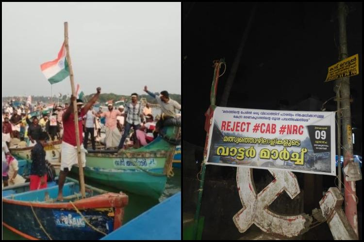 Kerala fishermen lead a protest on the waves against CAA