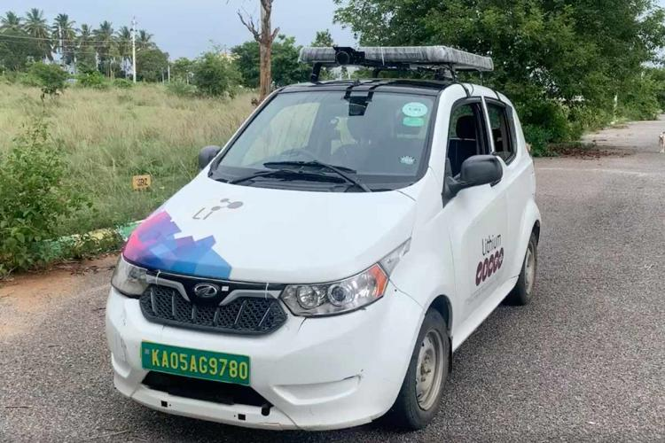A prototype of the driverless car made by entrepreneur Ashwin Mahesh