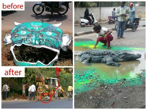Bengaluru artist puts a crocodile in citys pothole BBMP swiftly fills it up