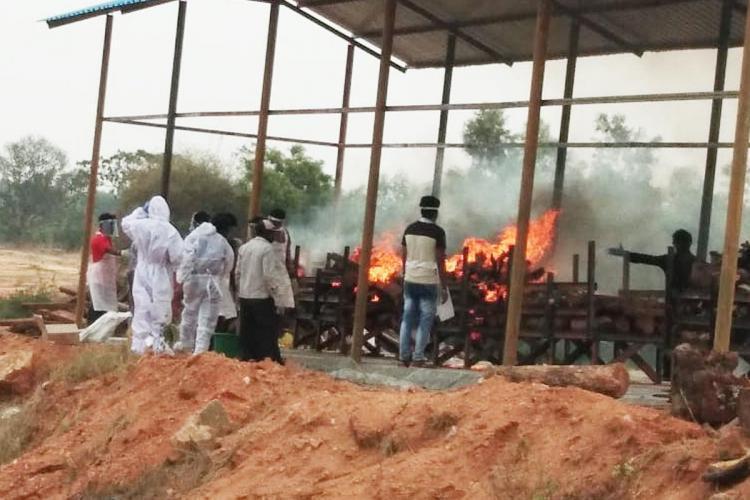 Funeral Pyre in a Bengaluru crematorium designated for COVID-19 victims
