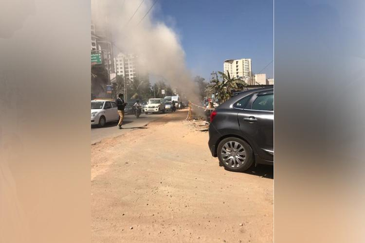 Gas pipeline leak reported on Bengalurus Sarjapur Road during BBMP excavation work