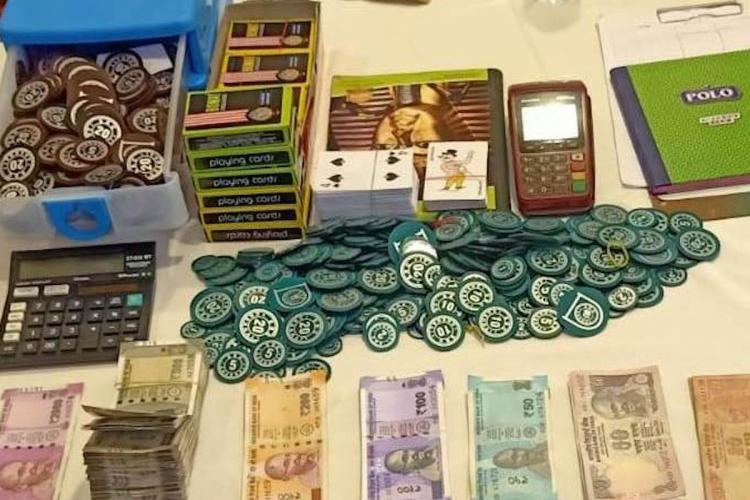 Gambling tokens cash and cards seized by police in Chennai