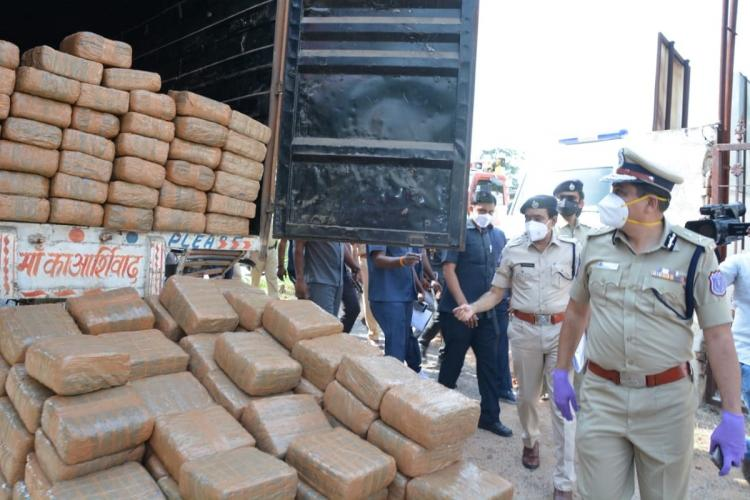 The Rachakonda police on Monday morning seized Rs 13 crore worth of ganja which was being illegally transported in a lorry into Hyderabad on October 5 Two men transporting the contraband from Odisha were arrested near Outer Ring Road by a team of police officers