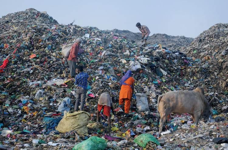 Stocks of Garbage is being shown piled up at a collection point